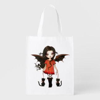 Niño del arte del gato del vampiro de Halloween Bolsa Reutilizable