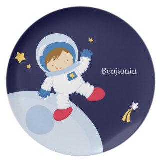 Niño del astronauta del muchacho personalizado platos