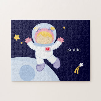 Niño del chica del astronauta personalizado rompecabeza