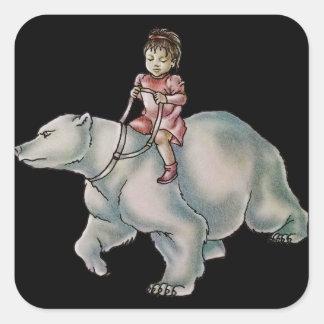 Niño del chica del dibujo animado que monta el pegatina cuadrada