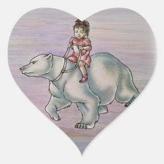 Niño del chica del dibujo animado que monta el pegatina en forma de corazón