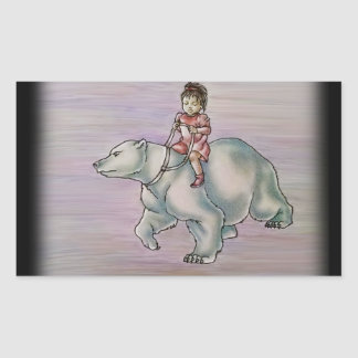 Niño del chica del dibujo animado que monta el pegatina rectangular
