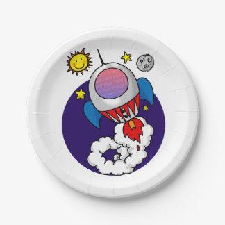 niño del cohete de espacio (añada la foto de la platos de papel