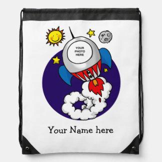 niño del cohete de espacio (añada su foto de la ca mochilas