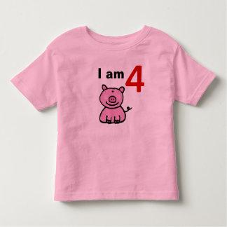 Niño del cumpleaños de cuatro años (cerdo rosado) playera