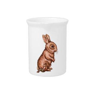 Niño del dibujo animado con el dibujo del conejo jarrón