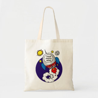 niño del espacio del cohete - añada su propia foto bolsa lienzo