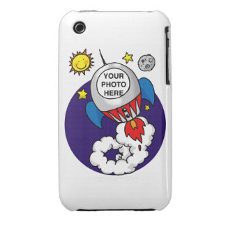 niño del espacio del cohete - añada su propia foto funda bareyly there para iPhone 3 de Case-Mate