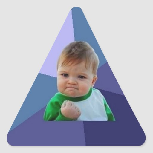 Niño del éxito pegatina triangular