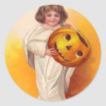 Niño del fantasma de la calabaza de la linterna de etiqueta redonda
