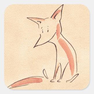 Niño del Fox Pegatina Cuadrada