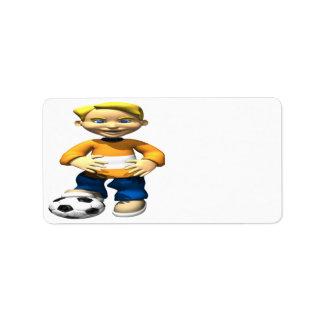 Niño del fútbol etiqueta de dirección