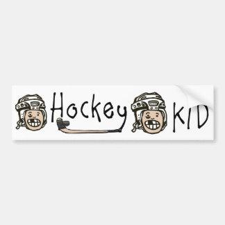 Niño del hockey etiqueta de parachoque