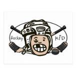 Niño del hockey postal