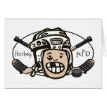 Niño del hockey tarjeta de felicitación