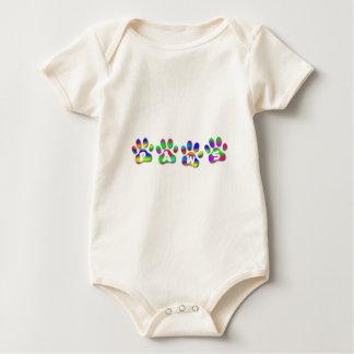 Niño del niño de Pawprints del color del arco iris Trajes De Bebé