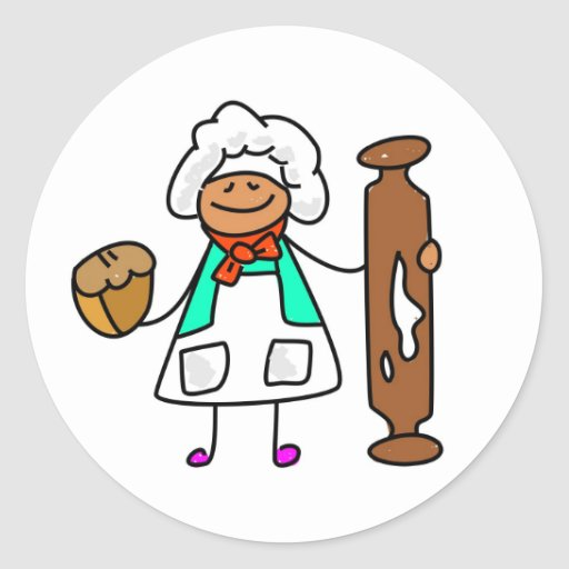 Niño del panadero pegatina redonda