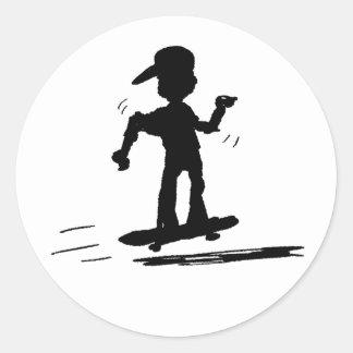 Niño del patinador - nd pegatina redonda