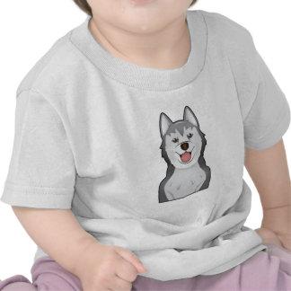 Niño del retrato del dibujo animado del Malamute d Camiseta