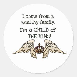 Niño del rey etiquetas redondas