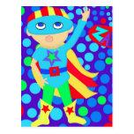Niño del superhéroe tarjeta postal