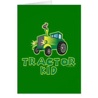 Niño del tractor, verde tarjeta de felicitación