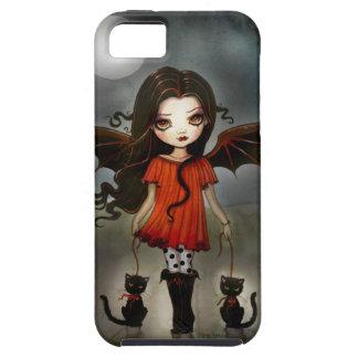 Niño del vampiro gótico de Halloween con los gatos iPhone 5 Fundas