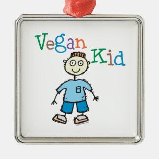 Niño del vegano adorno navideño cuadrado de metal