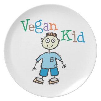 Niño del vegano plato