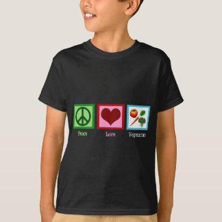 Niño del vegetariano del amor de la paz playera