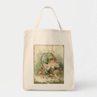 Niño del Victorian del vintage, cesta de fruta de Bolsa Tela Para La Compra