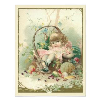 Niño del Victorian del vintage, cesta de fruta de Comunicado