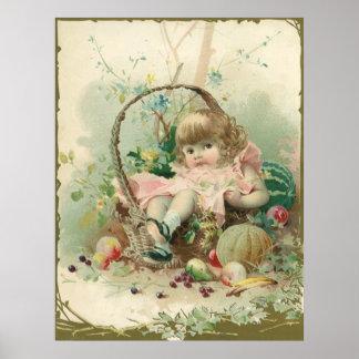 Niño del Victorian del vintage, cesta de fruta de Póster