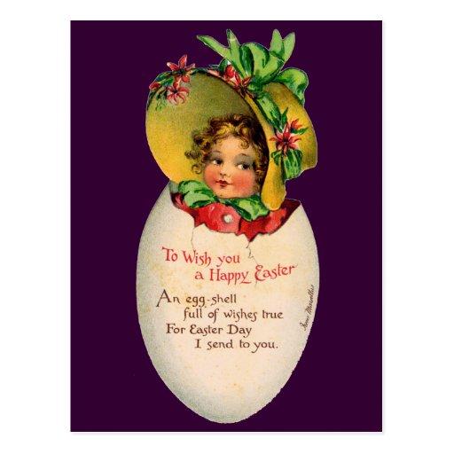 Niño del Victorian del vintage en un huevo de Tarjetas Postales