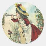Niño del Victorian del vintage, prado del bugle Etiqueta Redonda