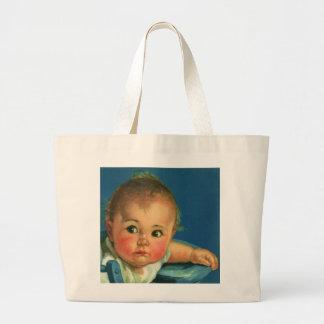 Niño del vintage, bebé lindo o chica en Highchair Bolsas De Mano