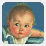 Niño del vintage, bebé lindo o chica en Highchair Etiquetas