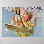 Niño del vintage, chica que balancea en un juego póster