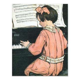 Niño del vintage, chica que juega a la fiesta de invitación 10,8 x 13,9 cm
