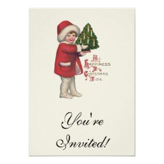 """Niño del vintage con el árbol de navidad invitación 5"""" x 7"""""""