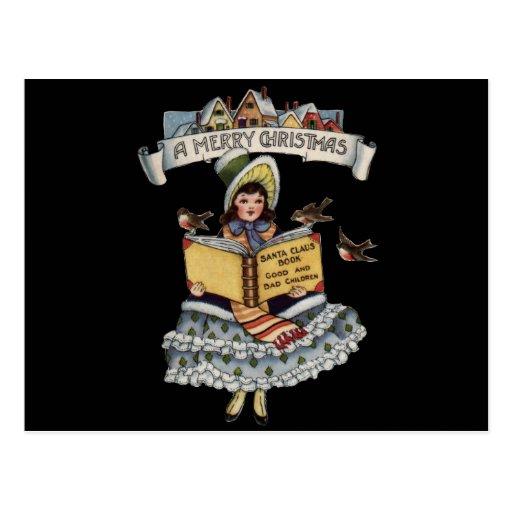 Niño del vintage con el libro de Papá Noel Tarjetas Postales