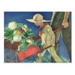 Niño del vintage, el cultivar un huerto orgánico;