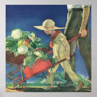 Niño del vintage, el cultivar un huerto orgánico;  poster