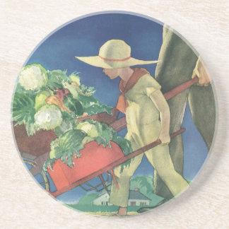 Niño del vintage, el cultivar un huerto orgánico; posavasos diseño