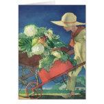 Niño del vintage, el cultivar un huerto orgánico;  felicitación