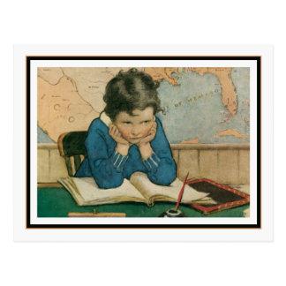 Niño del vintage en clase de Jessie Willcox Smith Postal