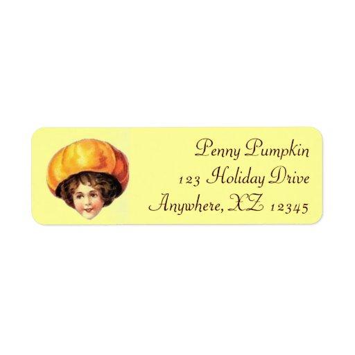 Niño del vintage en gorra de la calabaza etiqueta de remite