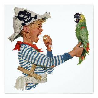Niño del vintage, muchacho que juega el pájaro del comunicado personalizado