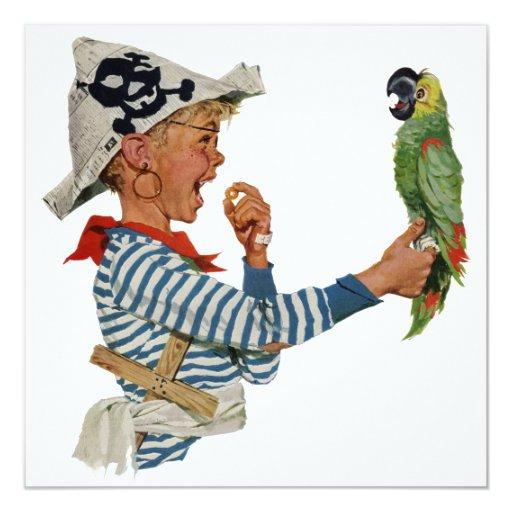 """Niño del vintage, muchacho que juega el pájaro del invitación 5.25"""" x 5.25"""""""