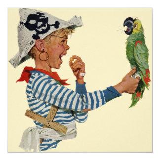 Niño del vintage, muchacho que juega el pájaro del invitacion personalizada